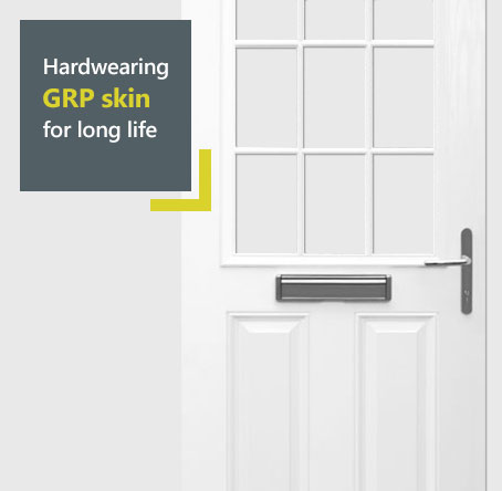 Door-stop composite door diagram - hardwearing GRP skin for long life