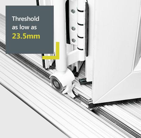 Liniar uPVC bifolds diagram - thresholds as low as 23.5mm