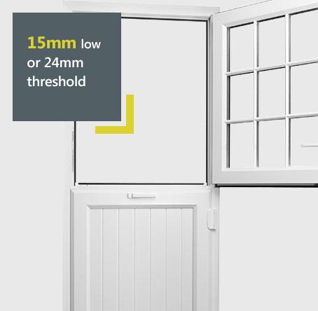 Liniar uPVC stable door diagram - 15mm or 24mm low threshold