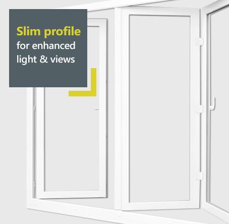 Rehau uPVC bifold door with slim profile for enhanced views and light