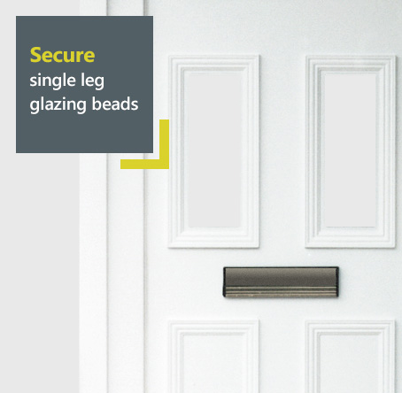 Rehau uPVC entrance door with secure , easy to install single leg glazing beads