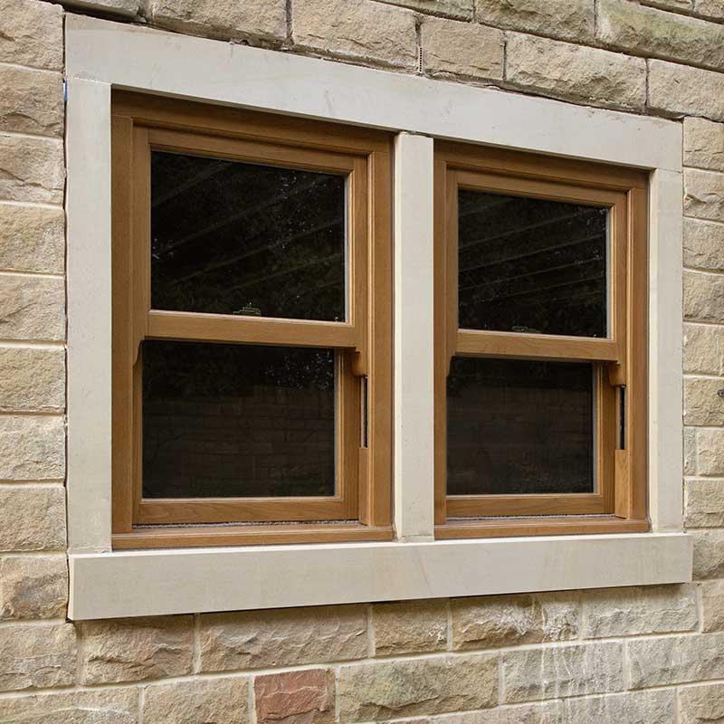 Oak coloured sash windows